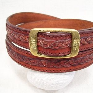 Frye Leather Belt Branded Brass & Braided Accent